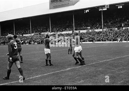 Charity Shield football match at Wembley Stadium. Leicester City 1 v Liverpool 0. Leicester players celebrate the - Stock Photo