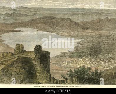 Birdseye view of the city of Ajmer from the hall of Taragurh ; Rajasthan ; India - Stock Photo