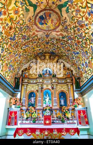Alta and Murals ; St. Mary's Marth Mariam Forane church built 105 A.D.in Kuravilangad located Kottayam Kerala - Stock Photo