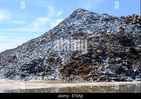 Large pile of scrap metal, waiting to be exported. - Stock Photo