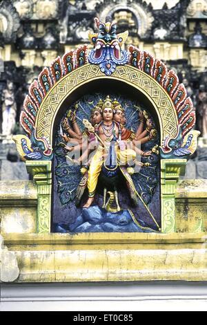 Lord Subrahmanya known arumugam six faces on peacock mount stucco figures in Nataraj temple ; Chidambaram ; Tamil - Stock Photo