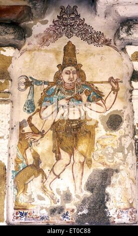 Gangala murthy one of sixty four forms of lord shiva seventeenth century mural in Vedapureeswarar temple at Vedaranyam - Stock Photo