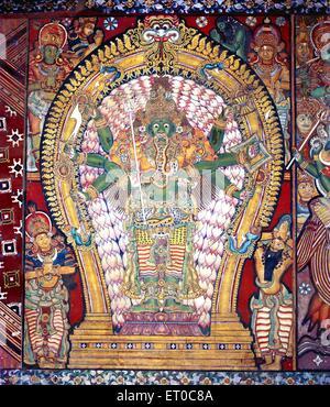 Siva as aghora murthy fearsome sixteenth century mural in Ettumanr Siva temple ; Kerala ; India - Stock Photo