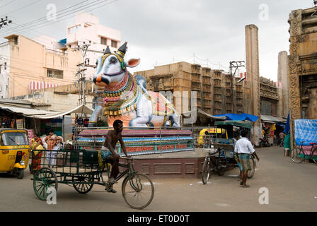 Nandi near royagopuram in Madurai ; Tamil Nadu ; India  August 2009 - Stock Photo