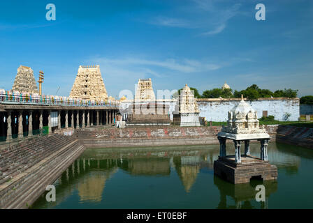 Sri Ekambaranathar Temples with tank in  ; kanchipuram  ; kancheepuram  ; Tamil Nadu  ; India - Stock Photo