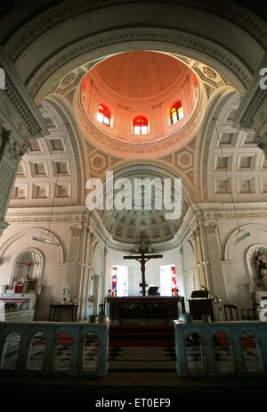 Interior in church our lady of angels ; Pondicherry ; Tamil Nadu ; India - Stock Photo