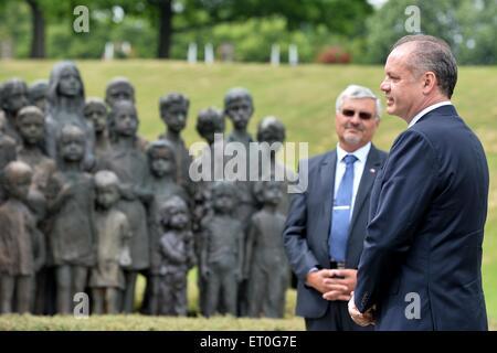 Slovak President Andrej Kiska (right) visits the Czech Republic Lidice village paid tribute victims of Nazis, in - Stock Photo