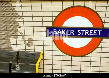 Sherlock Homes image made on wall using tiles baker street ; Tube Station ; London ; UK United Kingdom England - Stock Photo