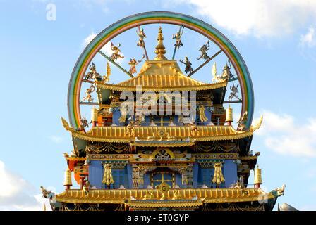 Biggest Tibetan Namdroling monastery at Kushal nagar District Coorg ; Karnataka ; India - Stock Photo