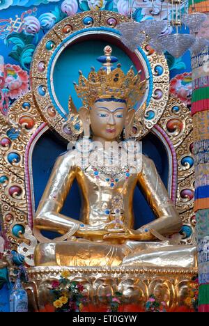 Statue of Amitay in biggest Namdroling monastery at Kushal nagar District Coorg ; Karnataka ; India - Stock Photo