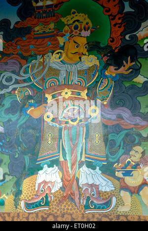 Colourful fresco in Biggest Namdroling monastery at Kushal nagar District Coorg ; Karnataka ; India - Stock Photo