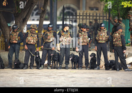 National Security Guards NSG commandoes with dogs outside Taj Mahal hotel after killing terrorists ; Bombay - Stock Photo