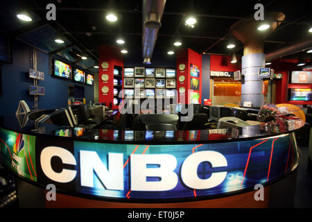 Empty terminals at the otherwise busy newsroom of India's top business channel CNBC in Bombay Mumbai ; Maharashtra - Stock Photo