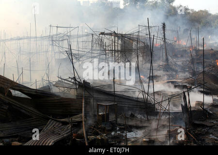 Site of fire which broke out at the Mhada colony situated at Versova ; Andheri ; Bombay now Mumbai ; Maharashtra - Stock Photo
