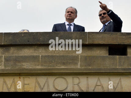 Slovak President Andrej Kiska (left) visits the Czech Republic Lidice village paid tribute victims of Nazis, in - Stock Photo