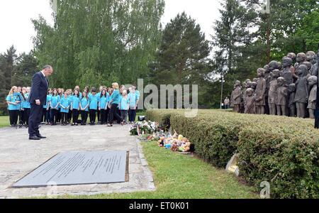 Slovak President Andrej Kiska visits the Czech Republic Lidice village paid tribute victims of Nazis, in Lidice, - Stock Photo
