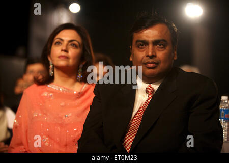 Mukesh Ambani with wife Neeta Ambani , Chairman and Managing Director of Reliance Industries Limited RIL Bombay - Stock Photo