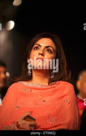 Neeta Ambani wife of Mukesh Ambani Chairman and Managing Director of Reliance Industries Limited RIL Business Leader - Stock Photo