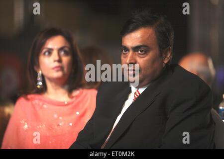 Mukesh Ambani with wife Neeta Ambani ; Chairman and Managing Director of Reliance Industries Limited RIL Business - Stock Photo