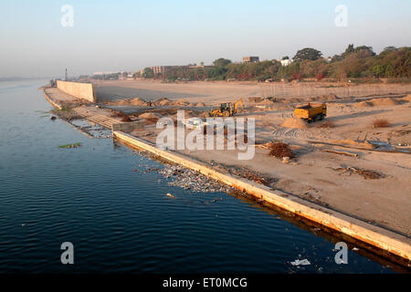 Some developments are seen happening on banks of Sabarmati river in Ahmedabad ; Gujarat ; India - Stock Photo
