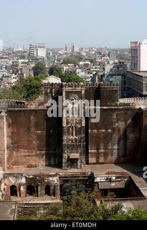 Aerial view of gate of Bhadra fort constructed in 1411 AD in city of Ahmedabad ; Gujarat ; India - Stock Photo
