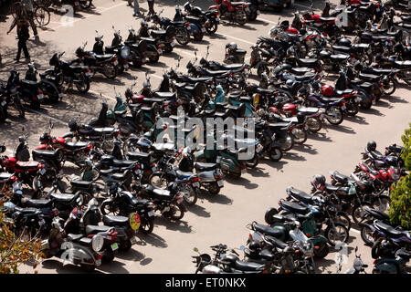 Two wheelers parked at high court building area of Chandigarh  ; Union Territory  ; India - Stock Photo