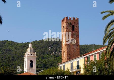 Foreshortening of Noli Village, Savona province, Ligury, Itay, Europe - Stock Photo