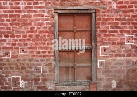 Bullet marks visible on preserved wall at Jalianwala Bagh ; Amritsar ; Punjab ; India - Stock Photo