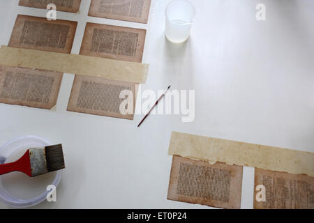 Preservation work of rare books in library of mumbai university ; Bombay Mumbai ; Maharashtra ; India 9 July 2009 - Stock Photo