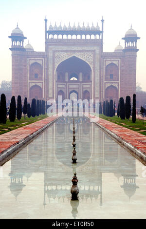 Inside view of main entrance gate of Taj Mahal ; Agra ; Uttar Pradesh ; India - Stock Photo