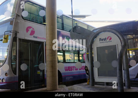 A double decker bus waits to depart from Bristol bus and coach station in the centre of Bristol. - Stock Photo