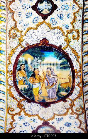 Paintings of god rama ; bharat and sita on wall - Stock Photo
