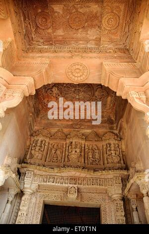 Statues engraved on ceiling ; Deval ; Mandore ; Jodhpur ; Rajasthan ; India - Stock Photo