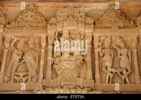 Statues engraved ; Deval ; Mandore ; Jodhpur ; Rajasthan ; India - Stock Photo