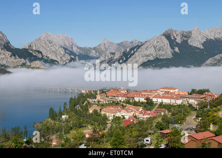 Early Morning Mist and the Village of Riaño, Parque Regional de los Picos de Europa Province, Castille de Leon, - Stock Photo