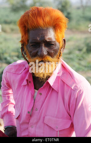 Portrait of an old man  ; Jodhpur ; Rajasthan ; India - Stock Photo