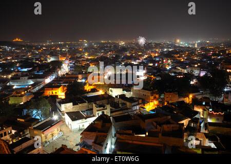 Jodhpur old city in night view ; Jodhpur ; Rajasthan ; India - Stock Photo