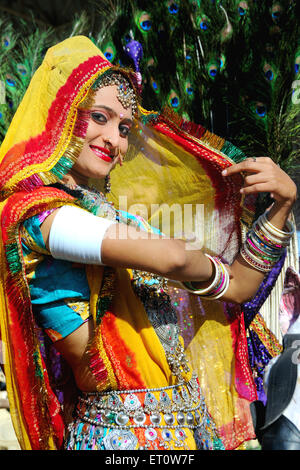 Woman wearing rajasthani traditional jewellery and costume ; Rajasthan ; India MR#786 - Stock Photo