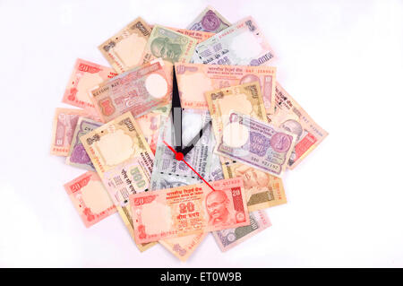 wall clock with dial of Indian Rupee paper money currency - Stock Photo