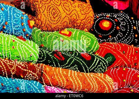 Rajasthani bandhej textiles Rajasthan India - Stock Photo