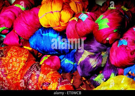 Rajasthani bandhej textiles ; Rajasthan ; India - Stock Photo