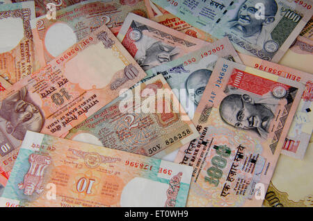 concept of Indian currency notes - Stock Photo