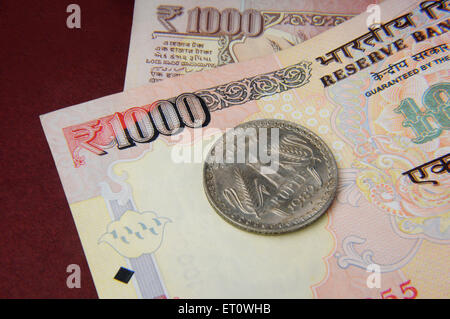 concept of Indian currency notes and coin - Stock Photo