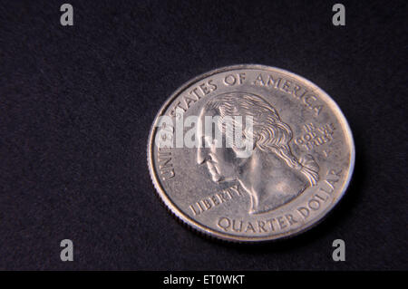 concept of American quarter dollar coins - Stock Photo