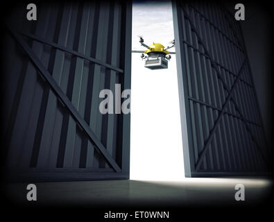 3d image of huge hangar doors and drone - Stock Photo