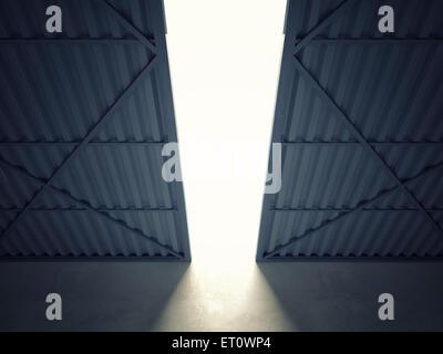 3d image of huge hangar doors - Stock Photo