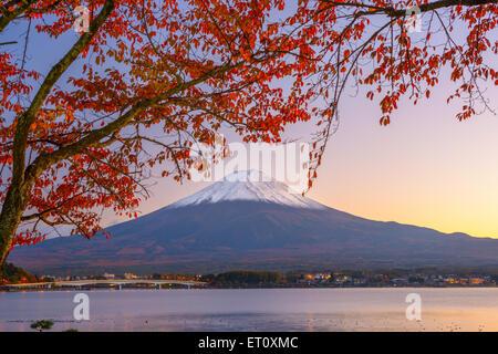 Mt. Fuji, Japan at Lake Kawaguchi during autumn season. - Stock Photo