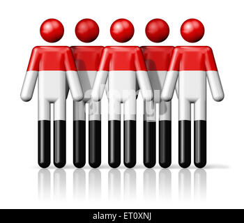 Flag of Yemen on stick figure - national and social community symbol 3D icon - Stock Photo