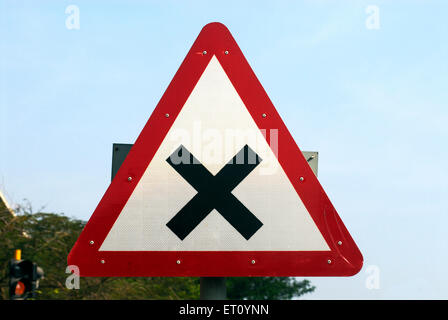 Cross road ahead signboard of traffic police department at Ganeshkhind road ; Pune ; Maharashtra ; India - Stock Photo