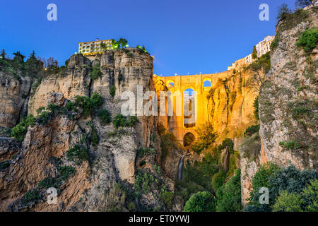 Ronda, Spain at Puente Nuevo Bridge at dusk. - Stock Photo
